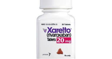 This undated product image provided by Janssen Pharmaceuticals, Inc. shows Xarelto. Johnson & Johnson says it will start giving the list price of its prescription drugs in television ads.
