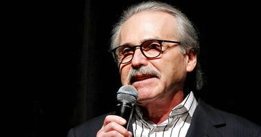 FILE - In this Jan. 31, 2014 photo, David Pecker, Chairman and CEO of American Media, addresses those attending the Shape & Men's Fitness Super Bowl Party in New York.