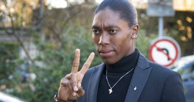 South Africa's runner Caster Semenya, current 800-meter Olympic gold medalist and world champion, arrives for the first day of her hearing at the international Court of Arbitration for Sport, CAS, in Lausanne, Switzerland, Monday, Feb. 18, 2019.