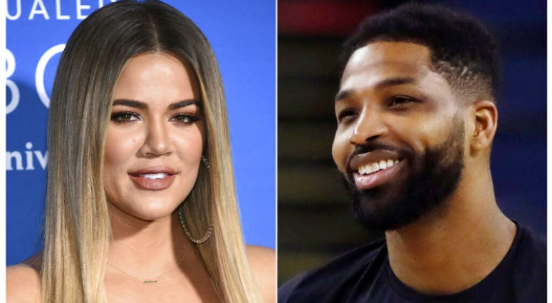 This combination photo shows TV personality Khloe Kardashian at the NBCUniversal Network 2017 Upfront in New York on May 15, 2017, left, and Cleveland Cavaliers' Tristan Thompson during an NBA basketball practice in Oakland, Calif., on May 30, 2018.