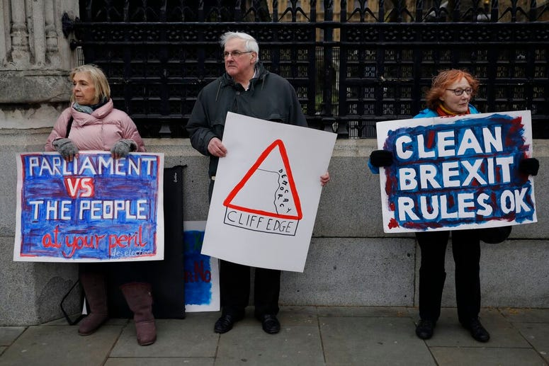 Pro-Brexit leave the European Union supporters, take part in a protest outside the Houses of Parliament in London, Tuesday, March 12, 2019.