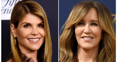Actress Lori Loughlin at the Women's Cancer Research Fund's An Unforgettable Evening event in Beverly Hills, Calif., on Feb. 27, 2018, left, and actress Felicity Huffman at the 70th Primetime Emmy Awards in Los Angeles on Sept. 17, 2018.