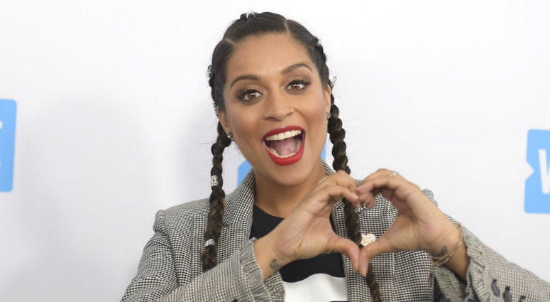 Lilly Singh arrives at WE Day California at The Forum in Inglewood, Calif.
