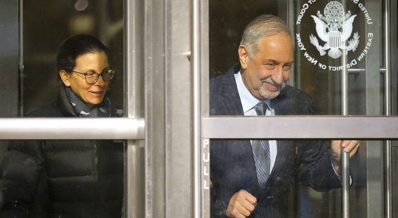 Clare Bronfman, a member of Nxivm, an organization charged in sex trafficking, leaves Brooklyn Federal Court with her lawyer Mark Geragos after she received medical attention while in court.