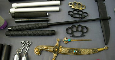 Items, prohibited on passenger airlines, and confiscated from passengers by TSA officers.