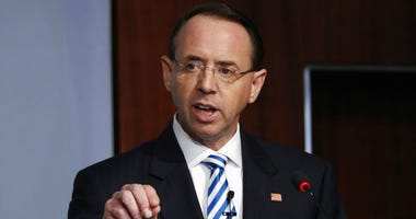 FILE - In this Feb. 25, 2019, file photo, Deputy Attorney General Rod Rosenstein speaks at a Center for Strategic and International Studies (CSIS) event on the rule of law in Washington.