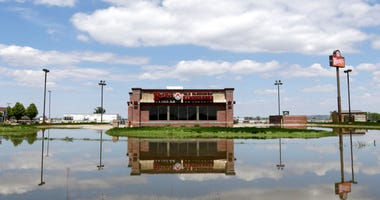 A Wendy's store in floodwaters from the Missouri River.