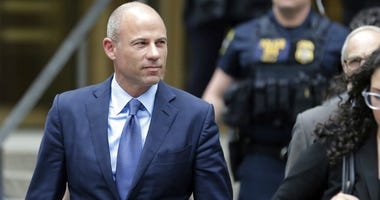 Attorney Michael Avenatti leaves a courthouse in New York, Tuesday, May 28, 2019, after pleading not guilty to charges that he defrauded his most famous client, porn star Stormy Daniels.
