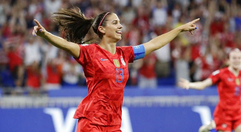 United States' Alex Morgan celebrates after scoring her side's second goal during the Women's World Cup semifinal soccer match between England and the United States, at the Stade de Lyon, outside Lyon, France, Tuesday, July 2, 2019.