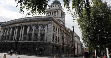 The Old Bailey, Central Criminal Court, in London, Thursday, Aug. 8, 2019. A 17-year old boy will appear at The Old Bailey charged with attempted murder of a young boy aged six who was thrown off a balcony at the Tate Modern art gallery on Sunday Aug. 4.