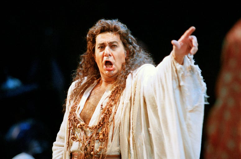 "In this Nov. 5, 1994 file photo, Placido Domingo performs in the San Francisco Opera's production of ""Herodiade"" in San Francisco."