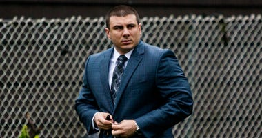 In this May 13, 2019, file photo New York City police officer Daniel Pantaleo leaves his house Monday, May 13, 2019, in Staten Island, N.Y.