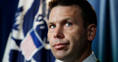 In this June 28, 2019 file photo, Department of Homeland Security (DHS) acting Secretary Kevin McAleenan pauses during a news conference in Washington.