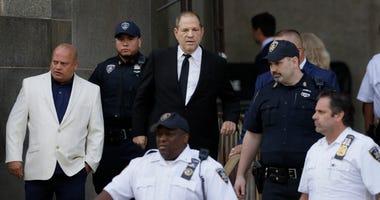 Harvey Weinstein, center, leaves court, Monday, Aug. 26, 2019 in New York.