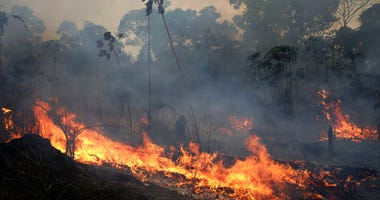 A fire burns along the road to Jacunda National Forest, near the city of Porto Velho in the Vila Nova Samuel region which is part of Brazil's Amazon, Monday, Aug. 26, 2019.