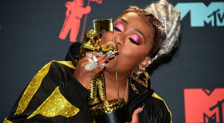 Missy Elliott poses in the press room with the Video Vanguard award at the MTV Video Music Awards at the Prudential Center on Monday, Aug. 26, 2019, in Newark, N.J.