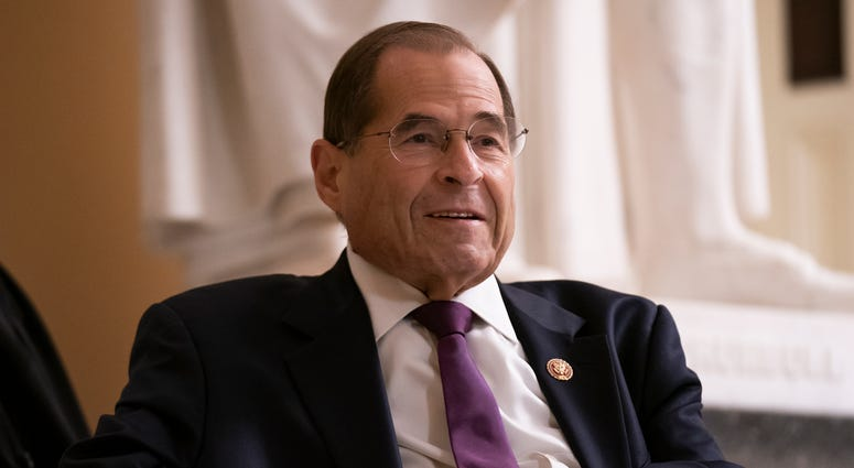 In this July 26, 2019, file photo, House Judiciary Committee Chairman Jerrold Nadler, D-N.Y., prepares for a television news interview at the Capitol in Washington.