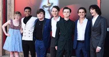 """From left: cast members Sophia Lillis, Chosen Jacobs, Jeremy Ray Taylor, Wyatt Oleff, Jaeden Martell, Jack Dylan Grazer and Finn Wolfhard arrive at the Los Angeles premiere of """"It: Chapter 2,"""" at the Regency Village Theatre."""