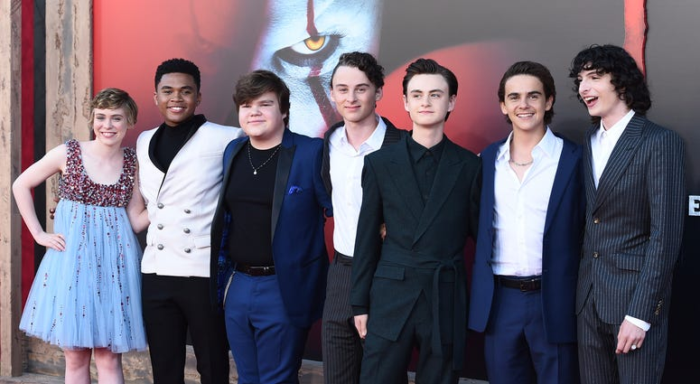 "From left: cast members Sophia Lillis, Chosen Jacobs, Jeremy Ray Taylor, Wyatt Oleff, Jaeden Martell, Jack Dylan Grazer and Finn Wolfhard arrive at the Los Angeles premiere of ""It: Chapter 2,"" at the Regency Village Theatre."