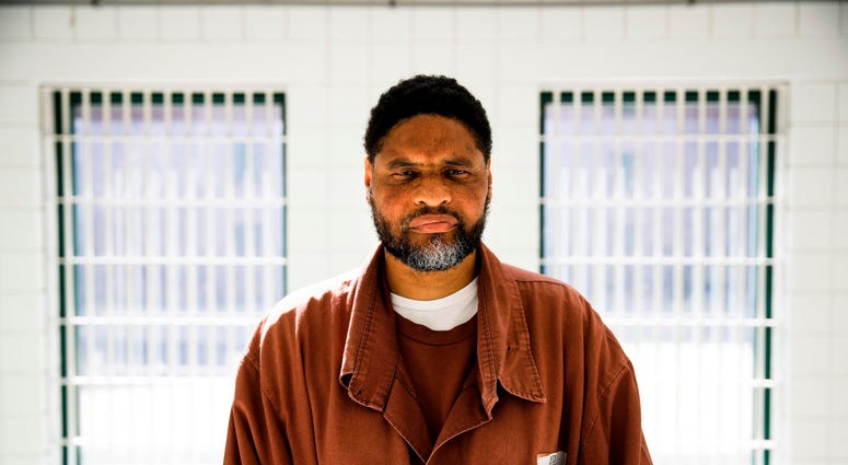 Incarcerated filmmaker Marvin poses for a portrait at the State Correctional Institution in Chester, Pa.
