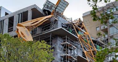 toppled building crane