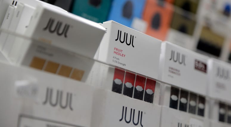 Juul products are displayed at a smoke shop in New York.