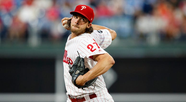 Philadelphia Phillies' Aaron Nola pitches during the first inning of a baseball game against the Atlanta Braves, Monday, Sept. 9, 2019, in Philadelphia.