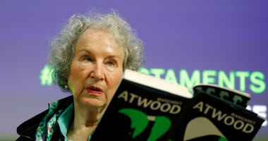 Canadian author Margaret Atwood speaks during a press conference at te British Library to launch her new book 'The Testaments' in London, Tuesday, Sept. 10, 2019.