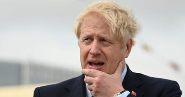 Britain's Prime Minister Boris Johnson visits the NLV Pharos, a lighthouse tender moored on the river Thames, to mark London International Shipping Week in London, Thursday, Sept. 12, 2019.