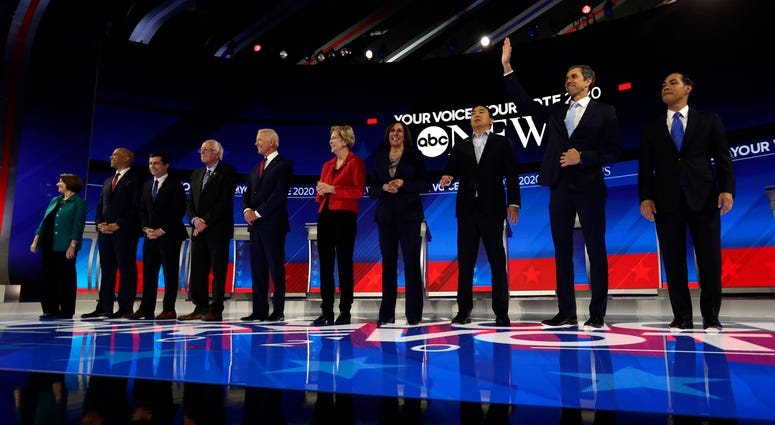 From left: Amy Klobuchar, Cory Booker, Pete Buttigieg, Bernie Sanders, Joe Biden, Elizabeth Warren, Kamala Harris, Andrew Yang, Beto O'Rourke and Julian Castro