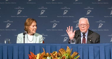Former President Jimmy Carter and Rosalynn Carter talk about the future of The Carter Center and their global work during a town hall, Tuesday, Sept. 17, 2019, in Atlanta.