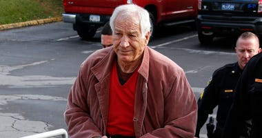 Former Penn State University assistant football coach Jerry Sandusky arrives at the Centre County Courthouse in Bellefonte, Pa.