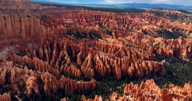A view of the world-famous hoodoos, also called tent rocks, fairy chimneys and earth pyramids, at Inspiration Point in Bryce Canyon National Park in Utah.
