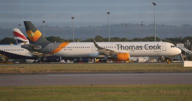 A Thomas Cook plane on the tarmac at Gatwick Airport in Sussex, England Monday Sept. 23, 2019.