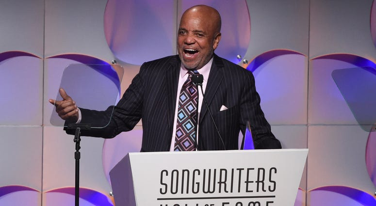 Music mogul Berry Gordy accepts his award at the 48th Annual Songwriters Hall of Fame Induction and Awards Gala at the New York Marriott Marquis Hotel, in New York.
