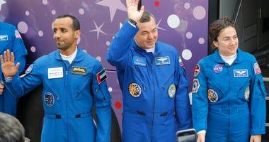 From left, United Arab Emirates astronaut Hazza Al Mansouri, Russian cosmonaut Oleg Skripochka, U.S. astronaut Jessica Meir, members of the main crew to the International Space Station.