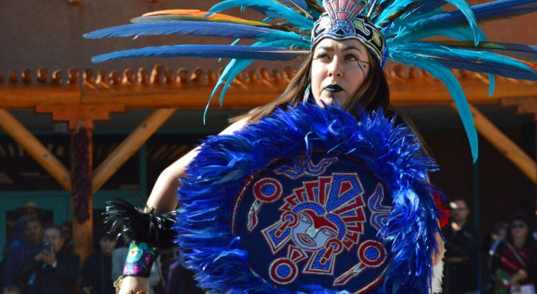 Crystal Zamora, 27, of Albuquerque, N.M., performs with the Ehecatl Aztec Dancers on Monday, Oct. 14, 2019, at the Indian Pueblo Cultural Center in Albuquerque, N.M.