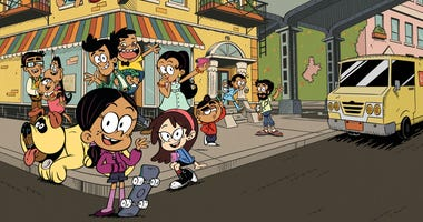 """Promotional still from the Nickelodeon animated series """"The Casagrandes,"""" featuring a multigenerational Mexican American family."""