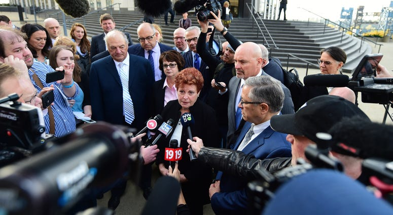 Summit county executive Ilene Shapiro speaks to the media outside the U.S. Federal courthouse, Monday, Oct. 21, 2019, in Cleveland.