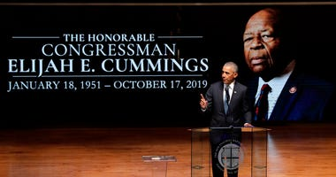 Former President Barack Obama speaks during funeral services for Rep. Elijah Cummings, Friday, Oct. 25, 2019, in Baltimore.