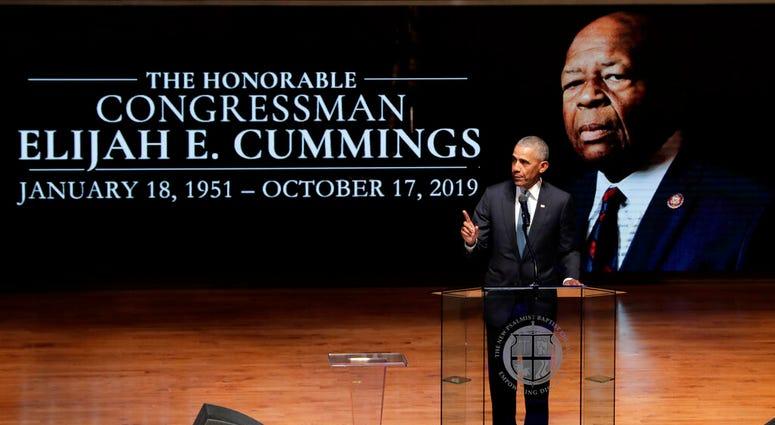 Former President Barack Obama speaks during funeral services for Rep. Elijah Cummings, Friday, Oct. 25, 2019, in Baltimore.