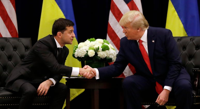 President Donald Trump meets with Ukrainian President Volodymyr Zelenskiy at the InterContinental Barclay New York hotel during the United Nations General Assembly in New York.