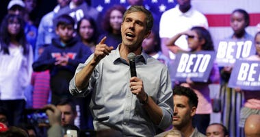 Democratic presidential candidate former Texas Rep. Beto O'Rourke speaks during a campaign rally.
