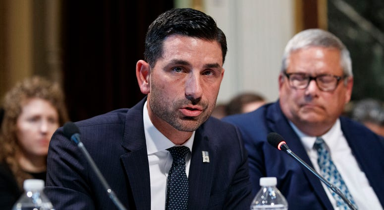 Department of Homeland Security Under Secretary Chad Wolf speaks during a meeting of the President's Interagency Task Force to Monitor and Combat Trafficking in Persons.