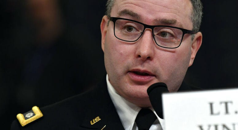 National Security Council aide Lt. Col. Alexander Vindman testifies before the House Intelligence Committee on Capitol Hill.