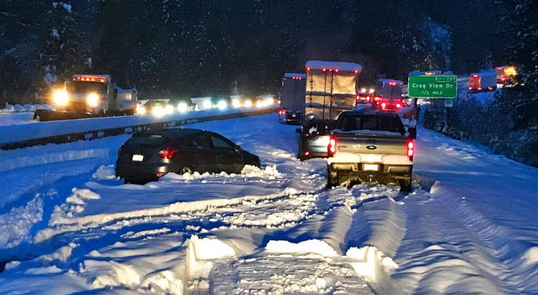 Cars and trucks in stopped traffic on Interstate 5 near Dunsmuir, Calif.