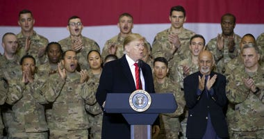 President Donald Trump, center, with Afghan President Ashraf Ghani, second from the right.