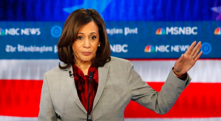 Democratic presidential candidate Sen. Kamala Harris, D-Calif., speaks during a Democratic presidential primary debate in Atlanta.
