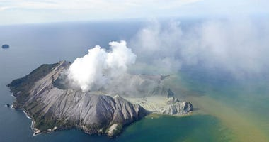 This aerial photo shows White Island after its volcanic eruption in New Zealand.