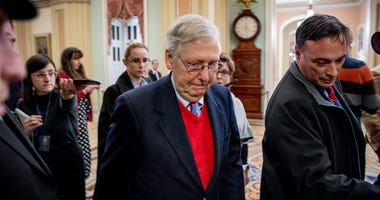 Senate Majority Leader Mitch McConnell of Ky., walks to the Senate Chamber, Monday, Dec. 16, 2019, on Capitol Hill in Washington.